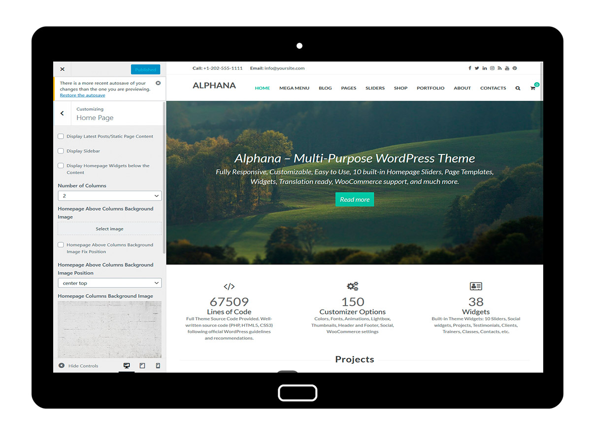 Alphana Customizing Home Page